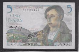 France 5 Francs Berger - 23-12-1943 - Fayette N° 5-5 - SPL - 1871-1952 Anciens Francs Circulés Au XXème