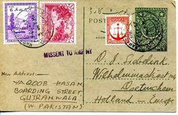 PAKISTAN 1957- Entier Postal MISSENT TO AMF NY Du PAKISTAN Vers Les PAYS BAS - Pakistan