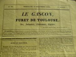 Le Gascon Furet De Toulouse Art, Industrie, Littérature, Théâtre 13/12/1835 4 Pages - Journaux - Quotidiens