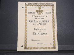 MILITARIA - Feuillet à Encarter Dans Le Livret Individuel , Fascicule De Citations 1914/18 - L 10305 - Documents