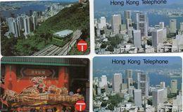 HONG KONG - LOT DE 4 CARTES - Gratte Ciel, Dragon, Féniculaire - 50 Et 100 Unt - Hong Kong