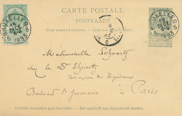 YY 239 - RARE 1er Jour D' Emission - Entier Postal Armoiries + TP Dito BRUXELLES 15 Décembre 1893 Vers PARIS - Entiers Postaux