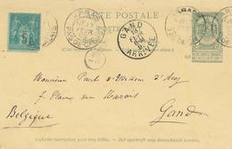 YY 241 - BELGIQUE Entier Postal Armoiries REPONSE + TP FRANCE Type Sage ARRAS 1895 Vers GAND - 1876-1898 Sage (Type II)