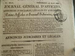 Journal Général D'affiches Annonces Judiciaires Légales Et Avis 24/04/1835 Paris 20 Pages - Journaux - Quotidiens