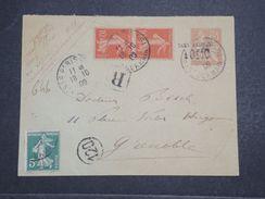FRANCE - Entier Postal Type Mouchon Surchargé En Recommandé + Complément De Paris En 1909 Pour Grenoble  - L 10323 - Entiers Postaux