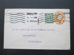 GB 1920 Ganzsache Mit Zusatzfrankatur In Die Schweiz. Firmenlochung / Perfin T.H.D. T.H. Downing Leicester - 1902-1951 (Könige)