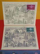 Coté 3€ > Europa CEPT, Monument Européen > 17.9.1960 > Paris (75) Strasbourg (67) > Lot 2 FDC 1er Jour - Cartoline Maximum