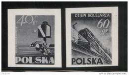 POLAND 1954 POLISH RAILMENS RAILWORKERS DAY BLACK PRINTS MNH Trains Signals Locomotive Steam - Prove & Ristampe