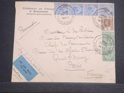 SINGAPOUR - Enveloppe Du Consulat De France Pour Paris En 1934 Par Avion - L 10344 - Singapore (...-1959)