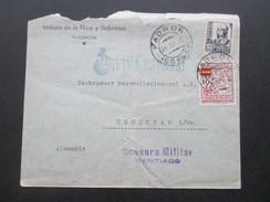 Spanien Bürgerkrieg 1937 Por La Patria. Viva Espana. Censura Militar Santiago. Padron Nach Zschkopau Sachsen. - Verschlussmarken Bürgerkrieg