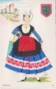 Carte Brodée Angevine  Illustrateur Elsi Folklore - Brodées