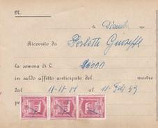 RICEVUTA D PAGAMENTO DI AFFITTO - CON MARCHE DA BOLLO IMPOSTA GENERALE SULL' ENTRATA LIRE.100 - Italia