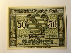 Allemagne Notgeld Auerbach 50 Pfennig - [ 3] 1918-1933 : République De Weimar