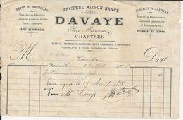 CHARTRES DAVAYE DEPOT DE BOUTEILLES PORCELAINES BLANCHES CAVES A LIQUEURS CLOCHES DE JARDINS CONFISEURS ANNEE 1888 - Non Classificati