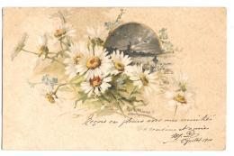 CPA..  ILLUSTRATEUR...  CATHARINA KLEIN.  CARTE DE 1900.. MARGUERITE. ET DECORS....TBE VOIR LES SCANS - Klein, Catharina