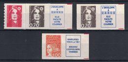 France - MARIANNE DE BRIAT / LUQUET Lot De 4 Timbres XX N° YT 2873 (2 TYPES) + 3101 (issu De Carnets) 70c Brun 1F Orange - Frankreich