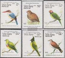 Laos 1082-1087 (complete Issue) Unmounted Mint / Never Hinged 1988 Birds - Laos