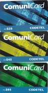 Dominican Republic, RD$25, RD$45, RD$95, ComuniCard, 2 Scans . Matt. - Dominicana