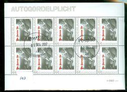 NEDERLAND * AUTOGORDELPLICHT  *  BLOK BLOC * BLOCK * GEBRUIKT *  POSTFRIS GESTEMPELD * (103) - Period 1980-... (Beatrix)