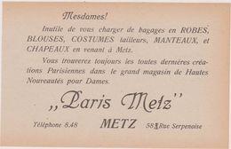 57,MOSELLE,METZ,EN 1911,PUBLICITE,PUB,CONFECTION,TAILLEUR,PARIS METZ,58 RUE SERPENOISE - Advertising