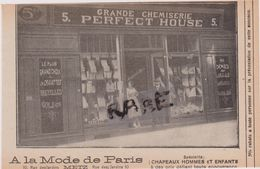 57,MOSELLE,METZ,1911,PUBLICITE,CONFECTION,MAGASIN,COMMERCE,A LA MODE DE PARIS,10 RUE DES JARDINS,CHEMISERIE - Advertising