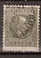 Ned Indie 1870 Koning Willem III. 1 Cent Type 2, NVPH 4F 12,5:12 Gestempeld. - Indes Néerlandaises