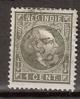 Ned Indie 1870 Koning Willem III. 1 Cent Type 2, NVPH 4E 13,5x13,25 Gestempeld. - Nederlands-Indië