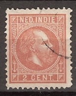 Ned Indie 1870 Koning Willem III. 2 Cent Roodbruin NVPH 6F Gestempeld. - Niederländisch-Indien