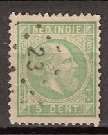 Ned Indie 1870 Koning Willem III. 5 Cent. NVPH 8G Tanding 11,5 X 12. Puntstempel 23 - Indes Néerlandaises
