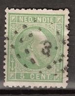 Ned Indie 1870 Koning Willem III. 5 Cent. NVPH 8G Tanding 11,5 X 12. Puntstempel 3 - Nederlands-Indië