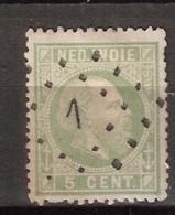Ned Indie 1870 Koning Willem III. 5 Cent. NVPH 8C Tanding 13.25x14. Puntstempel. Zie Beschrijving - Nederlands-Indië
