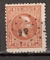 Ned Indie 1870 Koning Willem III. 10 Cent. NVPH 9H Tanding 12,5 X 12,5 Kleine Gaten. Puntstempel - Nederlands-Indië