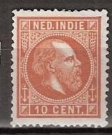 Ned Indie 1870 Koning Willem III. 10 Cent. NVPH 9E 13.5:13.25 - Ongestempeld - Indes Néerlandaises