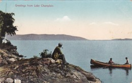 New York Greetings From Lake Champlain 1909