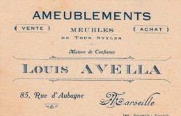Louis Avella Ameublements Marseille France Furniture Card C1800s Vintage Business Card - Other Collections
