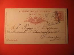 Italia Cartolina   Postale CON RISPOSTA  7 1/2   Centesimi ANNULLO POZZUOLI NAPOLI    291 - Italy