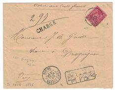 1896 - LETTRE CHARGÉE AFFRANCHIE À 50c Avec SAGE N° 98 SEUL De DIGNE BASSES ALPES Pour DRAGUIGNAN (VALEUR DECLARÉE 200F) - Marcophilie (Lettres)