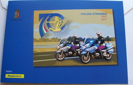 ITALIA 2017. 70° ANNIVERSARIO POLIZIA STRADALE, OFFICIAL FOLDER - Policia