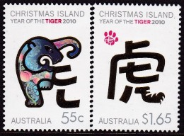 Christmas Island 2010 Year Of Tiger Sc 484-85 Mint Never Hinged - Christmas Island