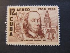 1956 - CUBA - BENJAMIN FRANKLIN - SCOTT C150 AP66 12C - Airmail