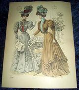 Stampa Litografia D' Epoca Originale - Moda Abiti Donna C58 - 1900 Ca - Estampes & Gravures