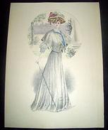 Stampa Litografia D' Epoca Originale - Moda Abiti Donna B07 - 1900 Ca - Stampe & Incisioni