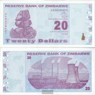 Zimbabwe Pick-number: 95 Uncirculated 2009 20 US Dollars - Zimbabwe