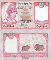 Nepal Pick-number: 53b Uncirculated 2005 5 Rupees - Nepal