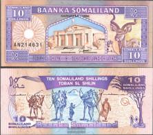 Somaliland Pick-number: 2b Uncirculated 1996 10 Shillings - Somalia