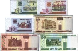 Weißrussland Pick-number: 21-26 Uncirculated 2000 Series 1-100 Rubel - Belarus