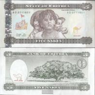 Eritrea Pick-number: 2 Uncirculated 1997 5 Nakfa - Erythrée
