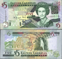 United Caribbean States Pick-number: 42g, Suffix Letter G Uncirculated 2003 5 Dollars - Caraïbes Orientales