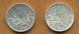 LOT  2 PIECES 5 FRANCS 1968-1969 - J. 5 Francs