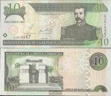 Dominican Republic Pick-number: 168b Uncirculated 2002 10 Pesos - Dominicana